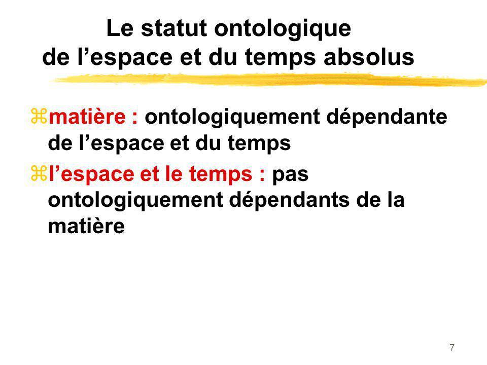 7 Le statut ontologique de lespace et du temps absolus matière : ontologiquement dépendante de lespace et du temps lespace et le temps : pas ontologiq