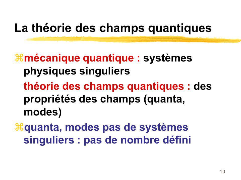 10 La théorie des champs quantiques mécanique quantique : systèmes physiques singuliers théorie des champs quantiques : des propriétés des champs (quanta, modes) quanta, modes pas de systèmes singuliers : pas de nombre défini