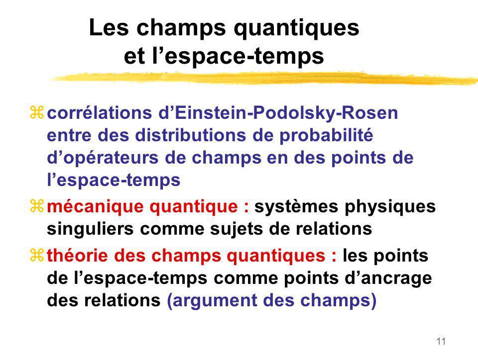11 Les champs quantiques et lespace-temps corrélations dEinstein-Podolsky-Rosen entre des distributions de probabilité dopérateurs de champs en des points de lespace-temps mécanique quantique : systèmes physiques singuliers comme sujets de relations théorie des champs quantiques : les points de lespace-temps comme points dancrage des relations (argument des champs)