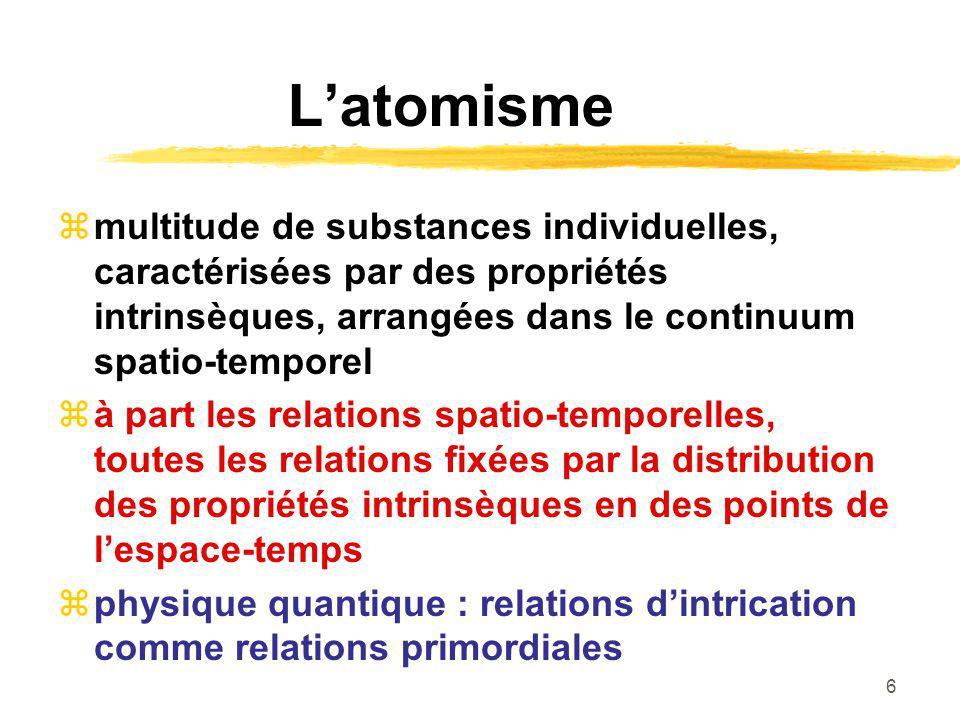6 Latomisme multitude de substances individuelles, caractérisées par des propriétés intrinsèques, arrangées dans le continuum spatio-temporel à part les relations spatio-temporelles, toutes les relations fixées par la distribution des propriétés intrinsèques en des points de lespace-temps physique quantique : relations dintrication comme relations primordiales