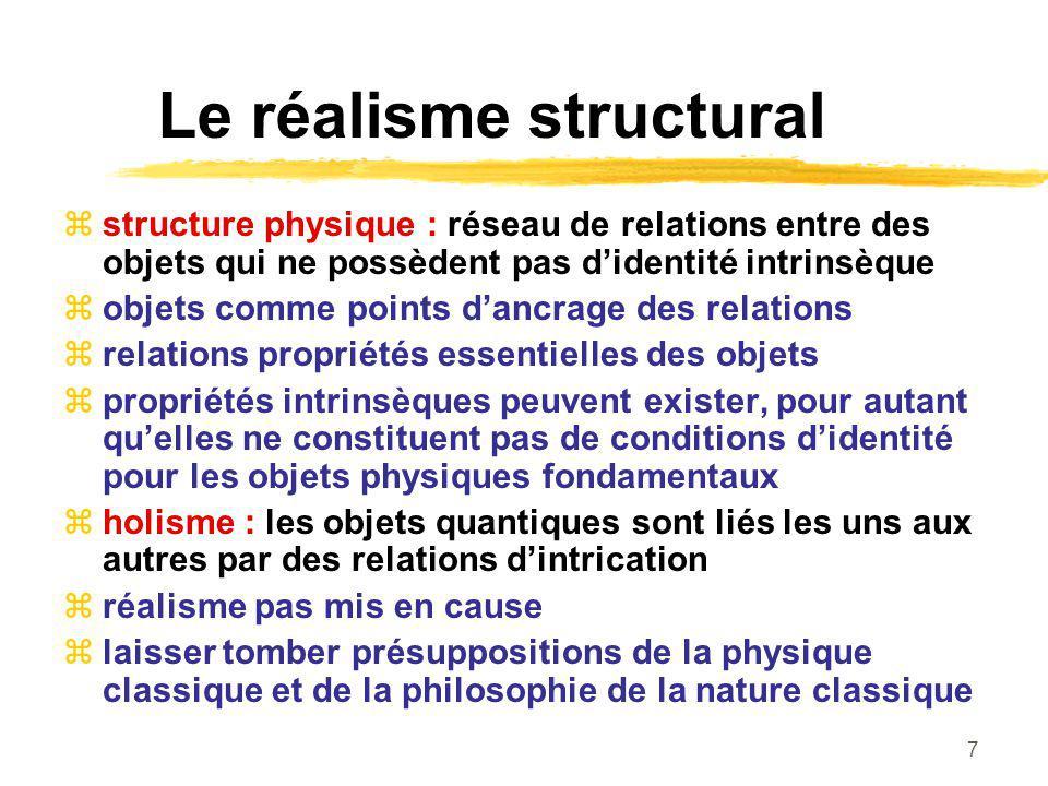 7 Le réalisme structural structure physique : réseau de relations entre des objets qui ne possèdent pas didentité intrinsèque objets comme points danc