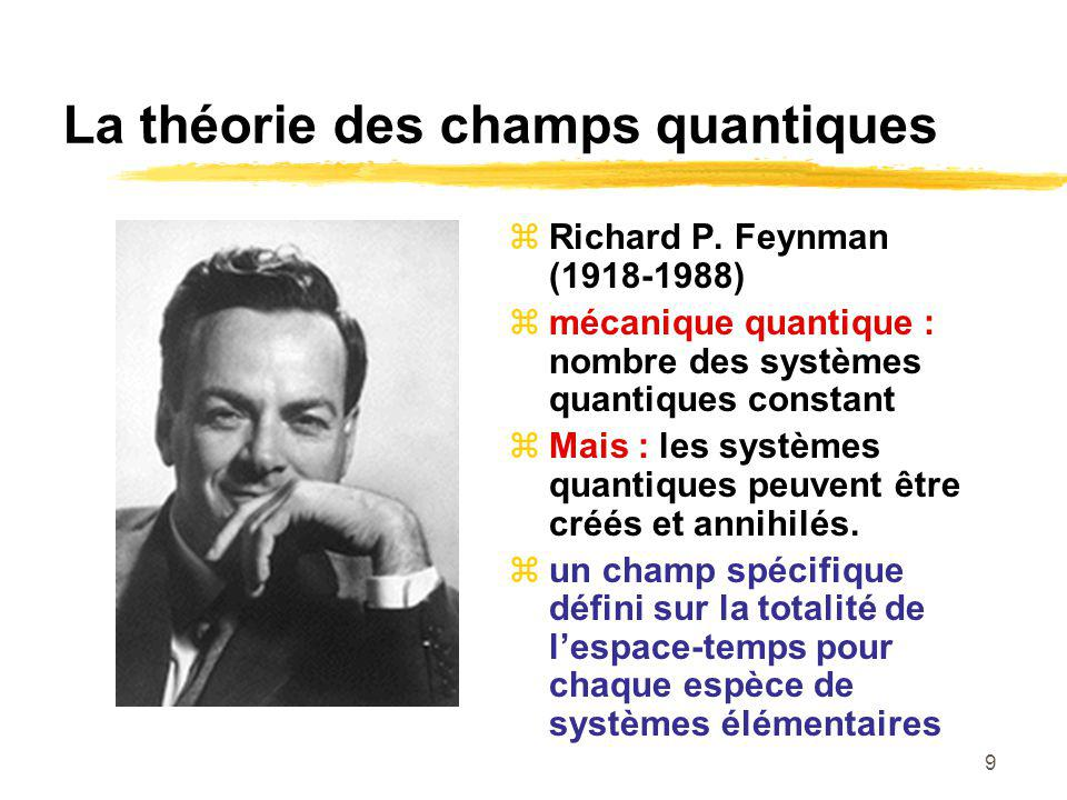9 La théorie des champs quantiques Richard P. Feynman (1918-1988) mécanique quantique : nombre des systèmes quantiques constant Mais : les systèmes qu
