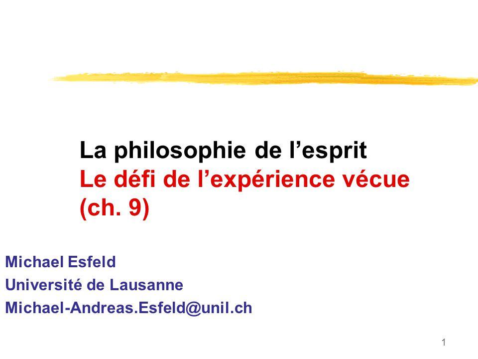 1 La philosophie de lesprit Le défi de lexpérience vécue (ch.
