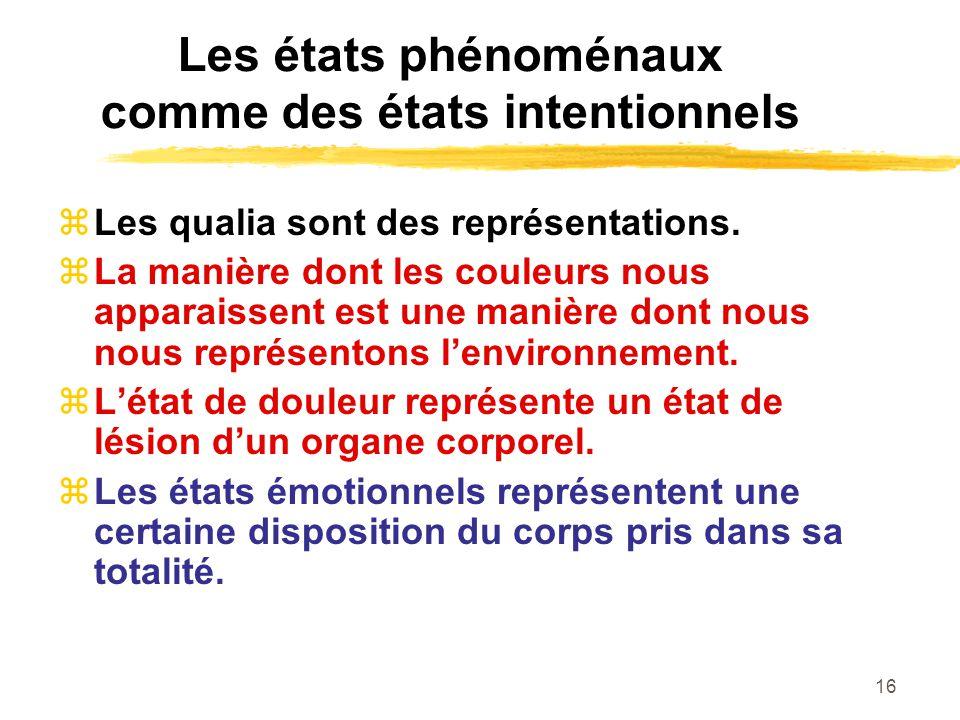 16 Les états phénoménaux comme des états intentionnels Les qualia sont des représentations.