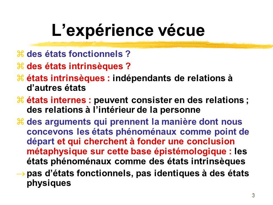 3 Lexpérience vécue des états fonctionnels . des états intrinsèques .