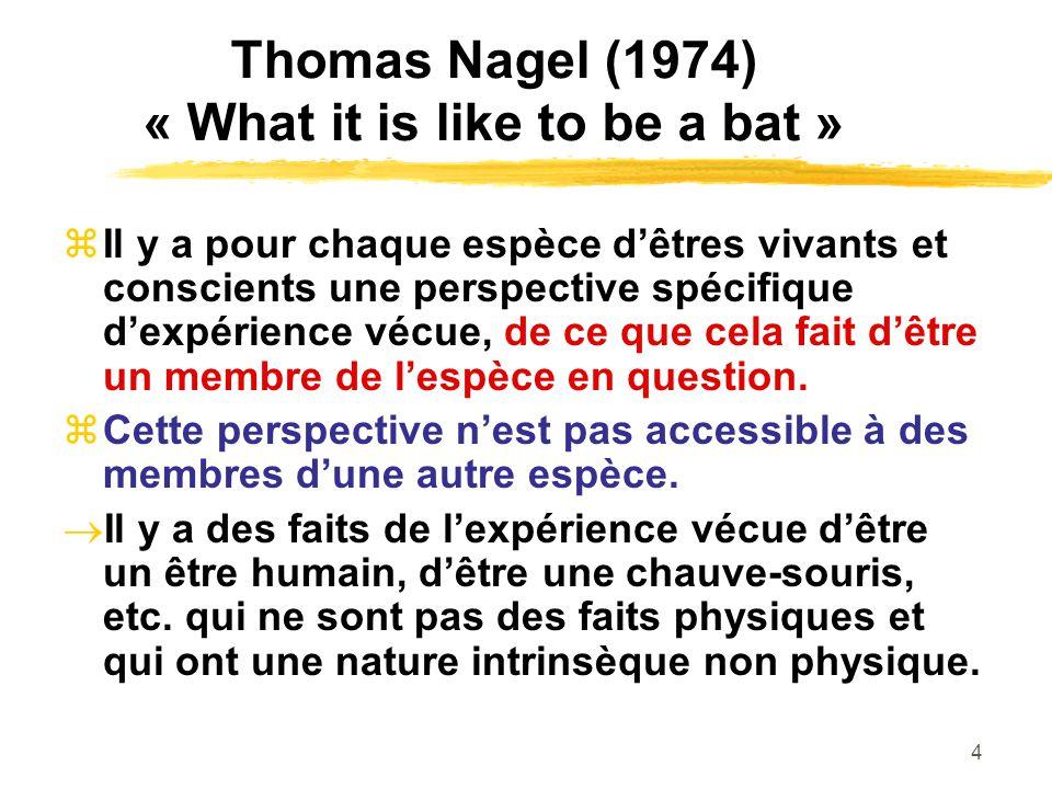 4 Thomas Nagel (1974) « What it is like to be a bat » Il y a pour chaque espèce dêtres vivants et conscients une perspective spécifique dexpérience vécue, de ce que cela fait dêtre un membre de lespèce en question.