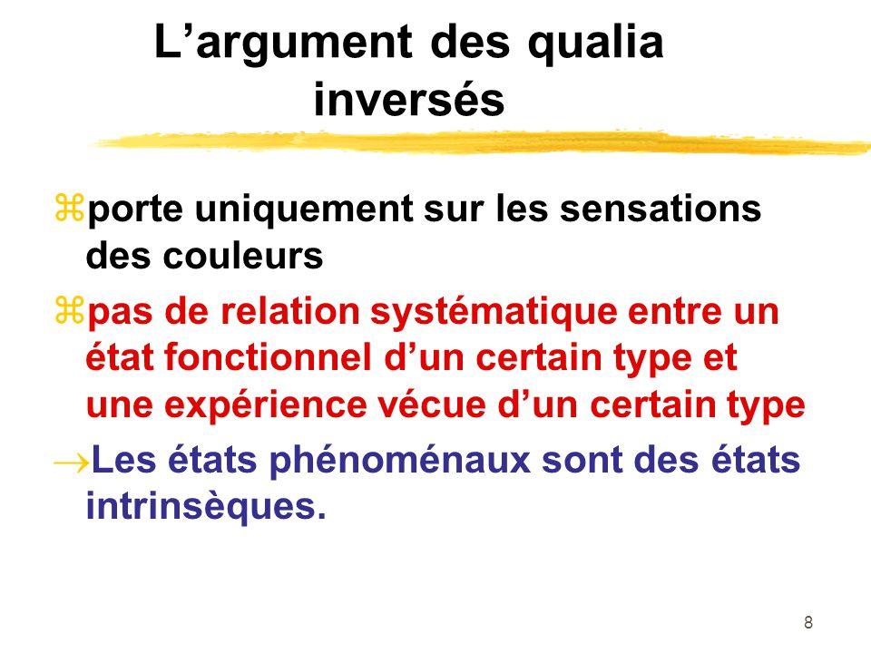 8 Largument des qualia inversés porte uniquement sur les sensations des couleurs pas de relation systématique entre un état fonctionnel dun certain type et une expérience vécue dun certain type Les états phénoménaux sont des états intrinsèques.
