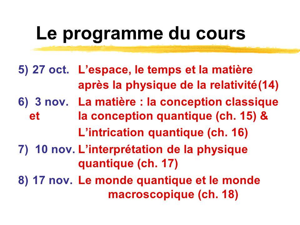 Le programme du cours 5) 27 oct. Lespace, le temps et la matière après la physique de la relativité(14) 6) 3 nov.La matière : la conception classique