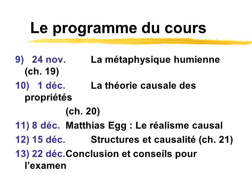 Le programme du cours 9) 24 nov.La métaphysique humienne (ch. 19) 10) 1 déc. La théorie causale des propriétés (ch. 20) 11) 8 déc.Matthias Egg : Le ré