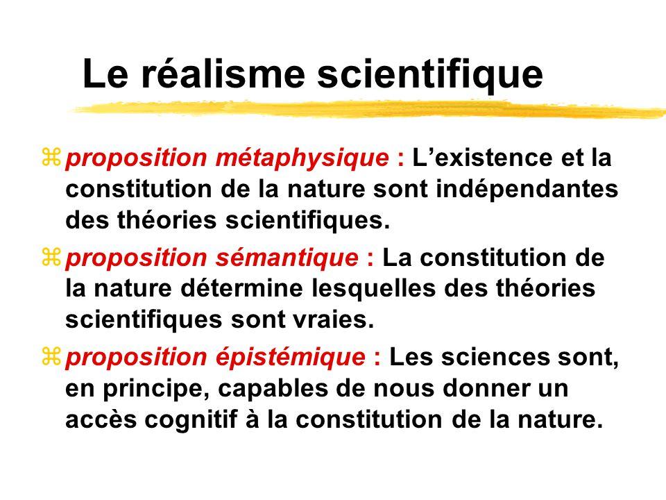 Le réalisme scientifique proposition métaphysique : Lexistence et la constitution de la nature sont indépendantes des théories scientifiques. proposit