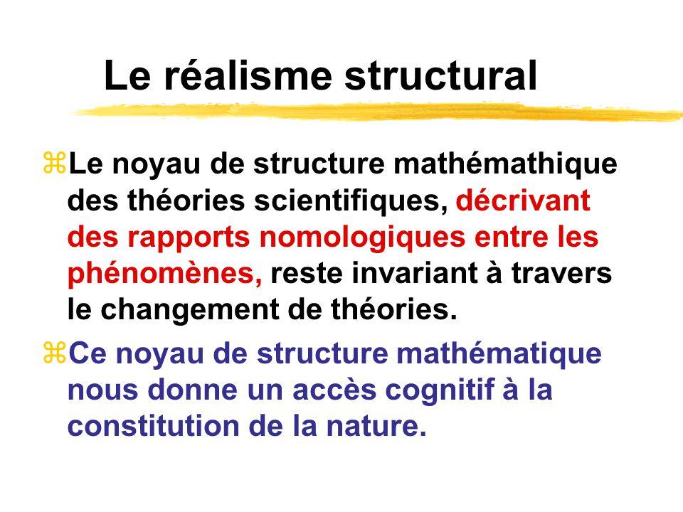 Le réalisme structural Le noyau de structure mathémathique des théories scientifiques, décrivant des rapports nomologiques entre les phénomènes, reste