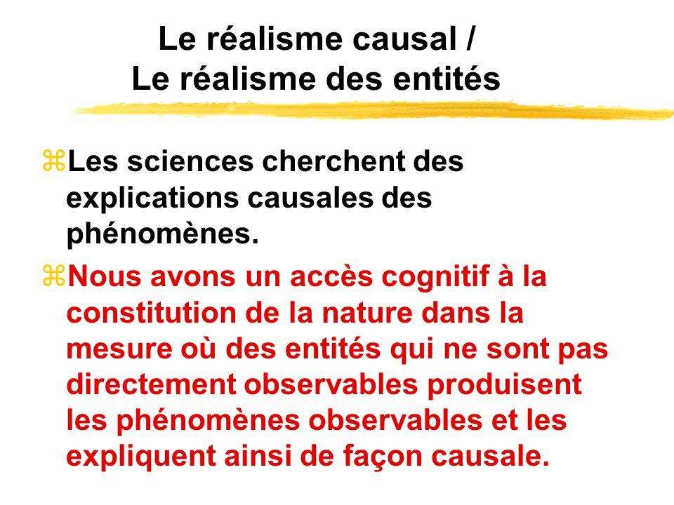 Le réalisme causal / Le réalisme des entités Les sciences cherchent des explications causales des phénomènes. Nous avons un accès cognitif à la consti