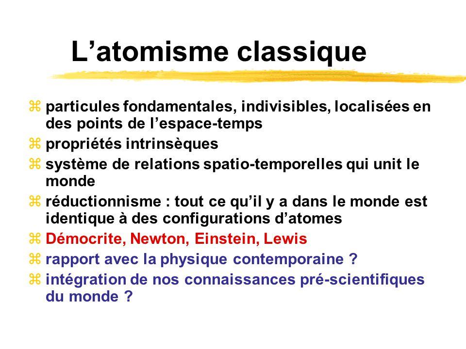 Latomisme classique particules fondamentales, indivisibles, localisées en des points de lespace-temps propriétés intrinsèques système de relations spa