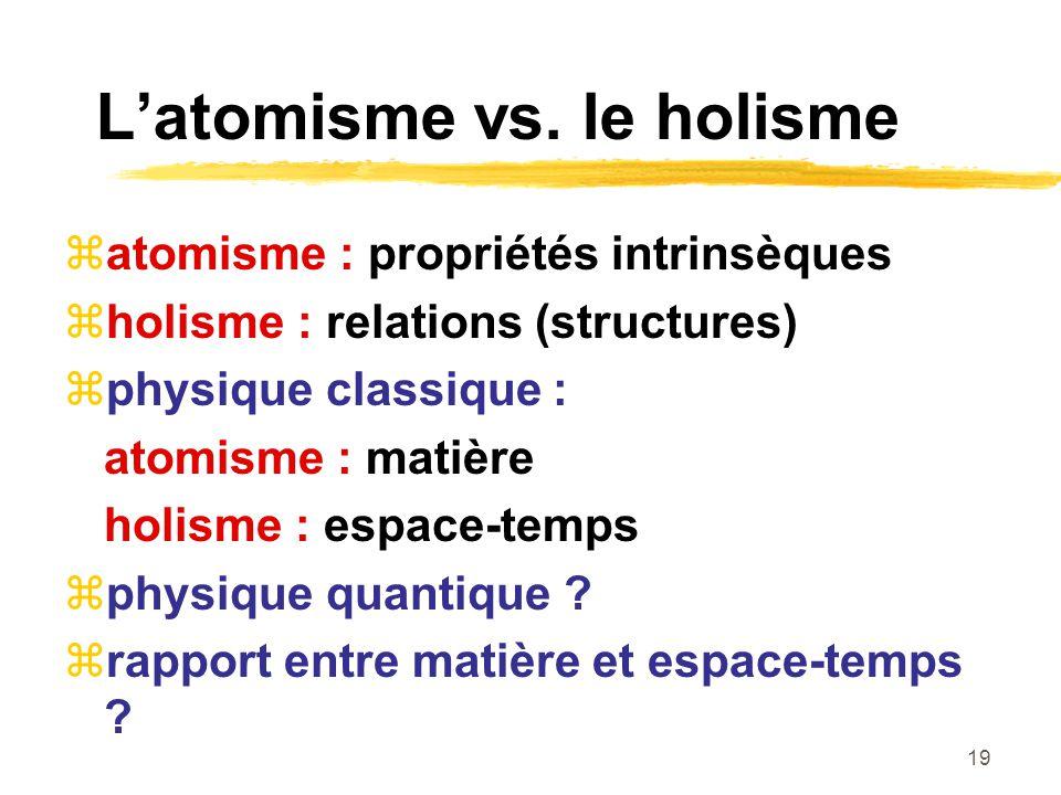 19 Latomisme vs. le holisme atomisme : propriétés intrinsèques holisme : relations (structures) physique classique : atomisme : matière holisme : espa