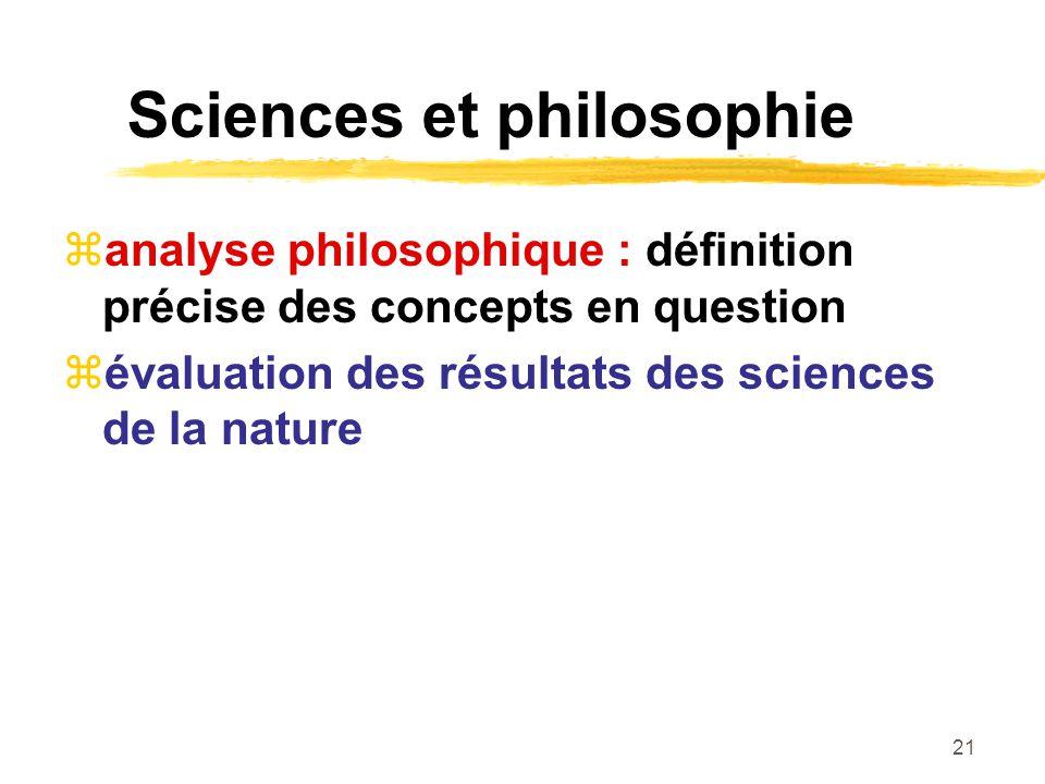 21 Sciences et philosophie analyse philosophique : définition précise des concepts en question évaluation des résultats des sciences de la nature