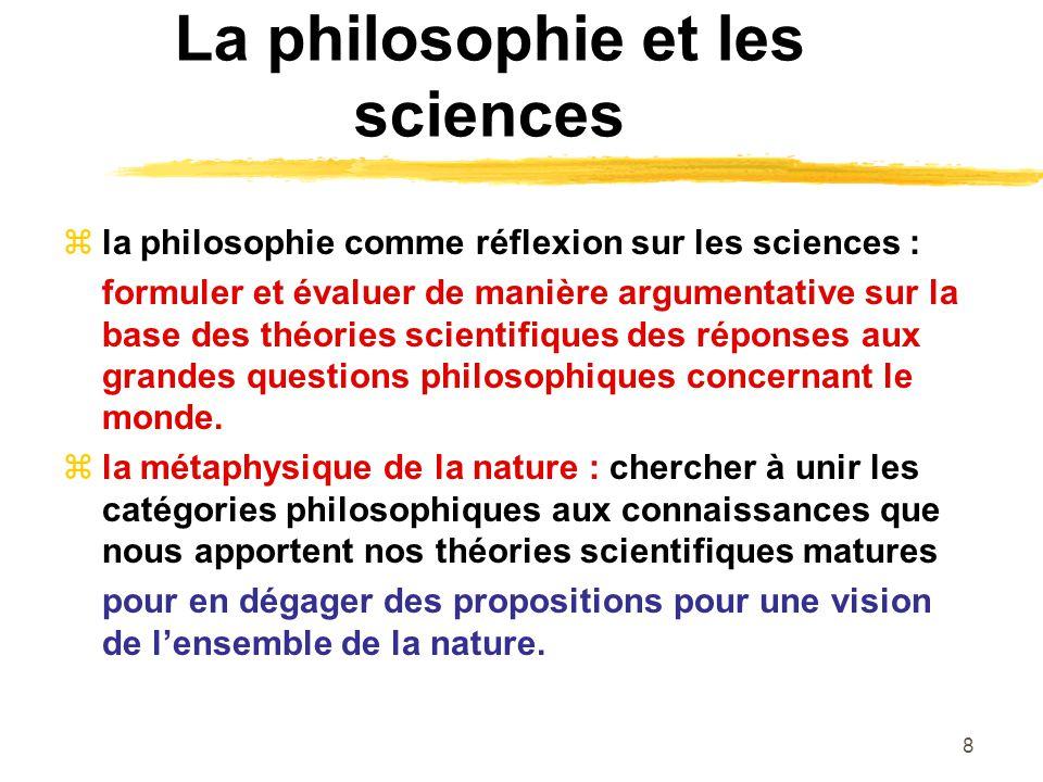 Le programme du cours 1) 29 sept.Sciences et philosophie : le projet dune métaphysique de la nature (ch.