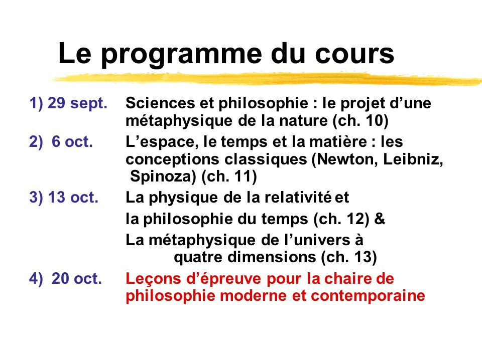 Le programme du cours 1) 29 sept.Sciences et philosophie : le projet dune métaphysique de la nature (ch. 10) 2) 6 oct.Lespace, le temps et la matière
