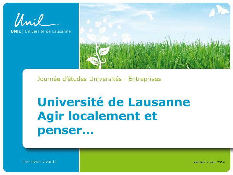 Université de Lausanne Agir localement et penser… Journée détudes Universités - Entreprises samedi 7 juin 2014