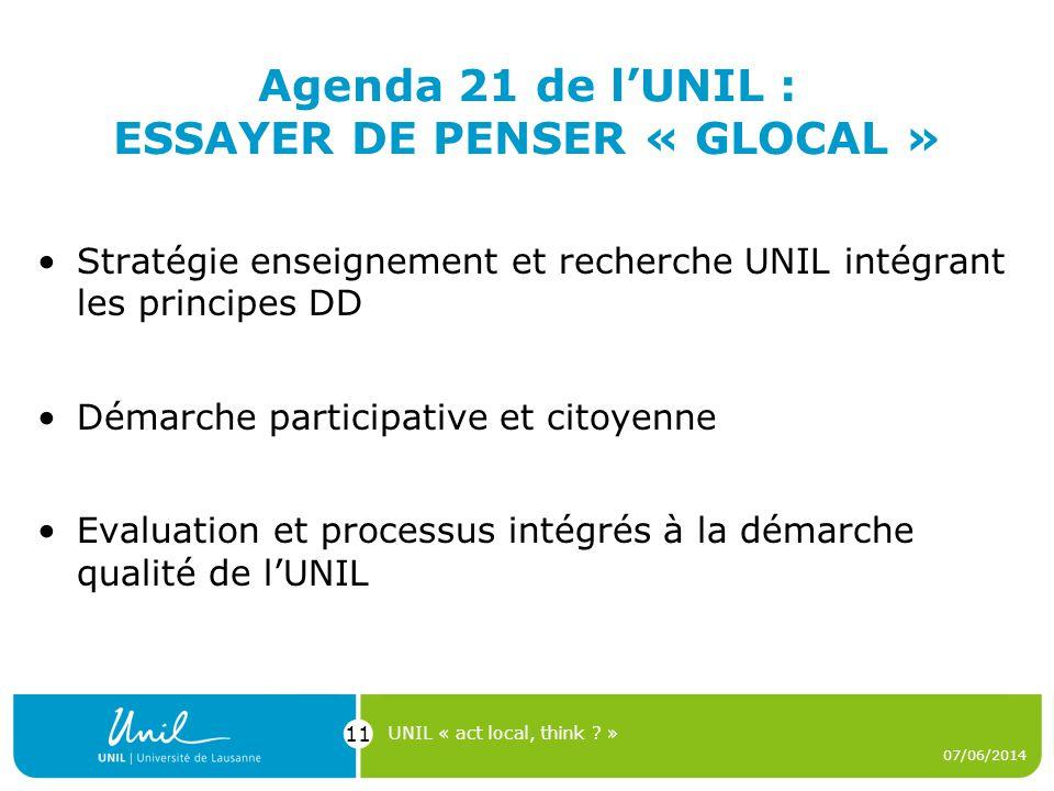 Agenda 21 de lUNIL : ESSAYER DE PENSER « GLOCAL » Stratégie enseignement et recherche UNIL intégrant les principes DD Démarche participative et citoye