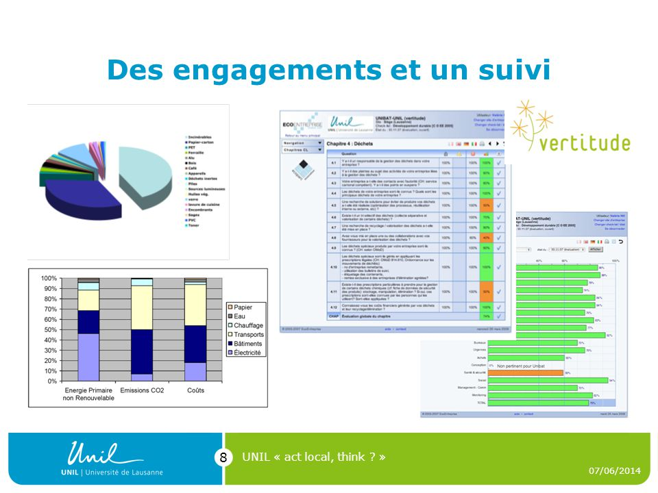 Des engagements et un suivi 07/06/2014 UNIL « act local, think ? » 8