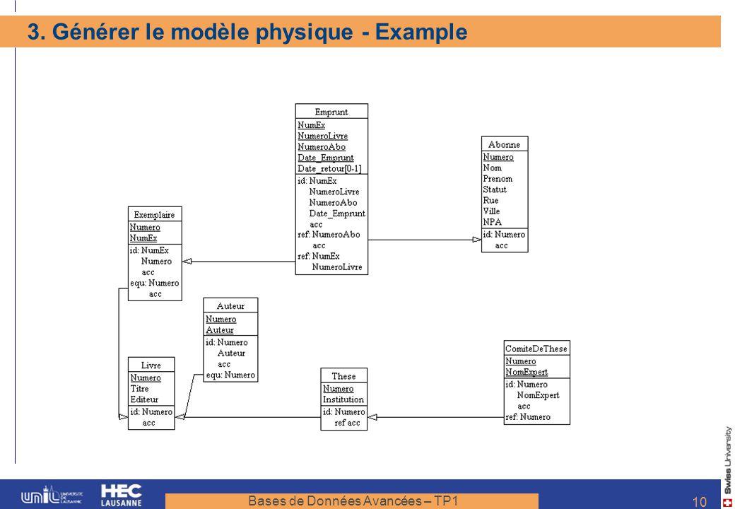 Bases de Données Avancées – TP1 10 3. Générer le modèle physique - Example