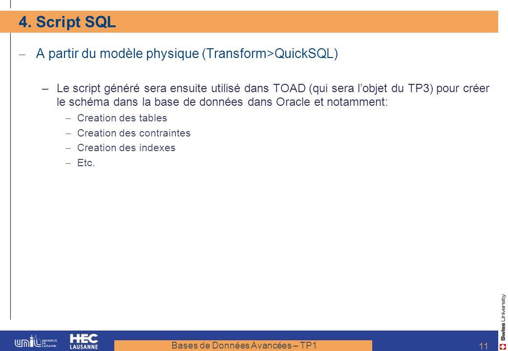 Bases de Données Avancées – TP1 11 4. Script SQL A partir du modèle physique (Transform>QuickSQL) –Le script généré sera ensuite utilisé dans TOAD (qu