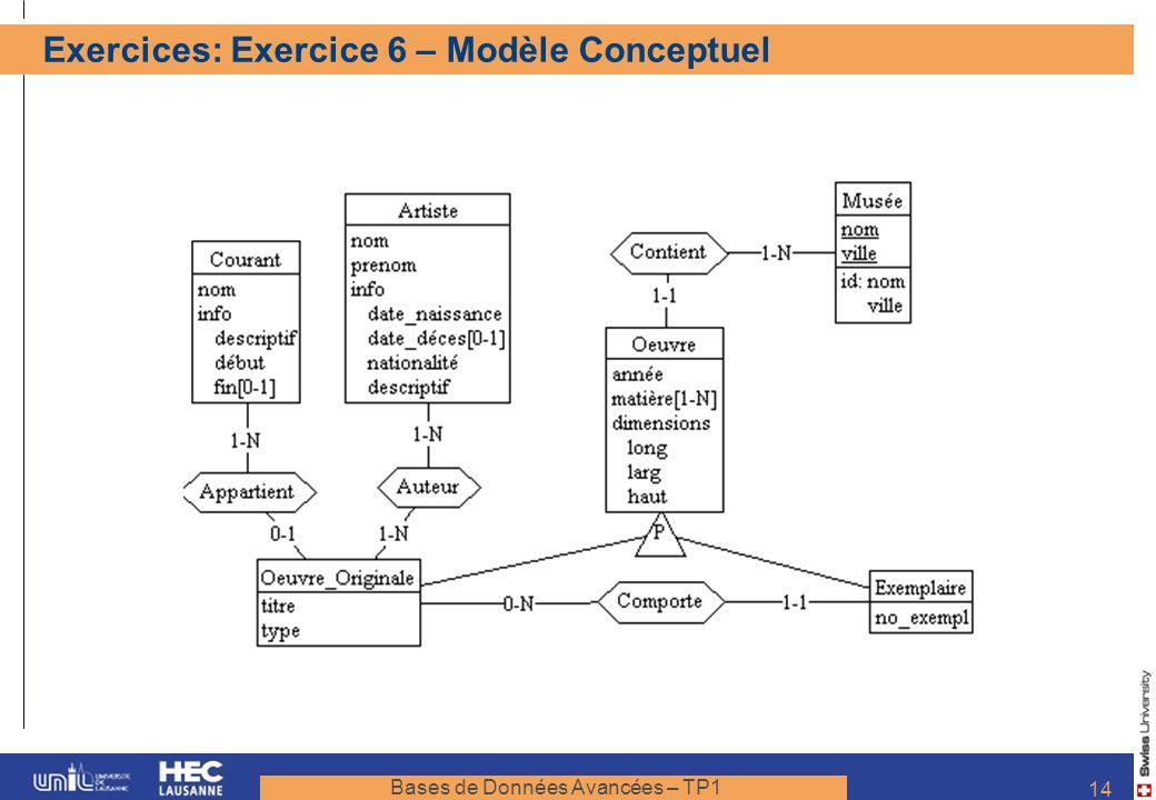 Bases de Données Avancées – TP1 14 Exercices: Exercice 6 – Modèle Conceptuel