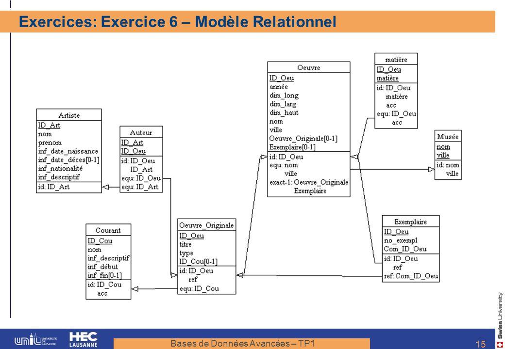Bases de Données Avancées – TP1 15 Exercices: Exercice 6 – Modèle Relationnel