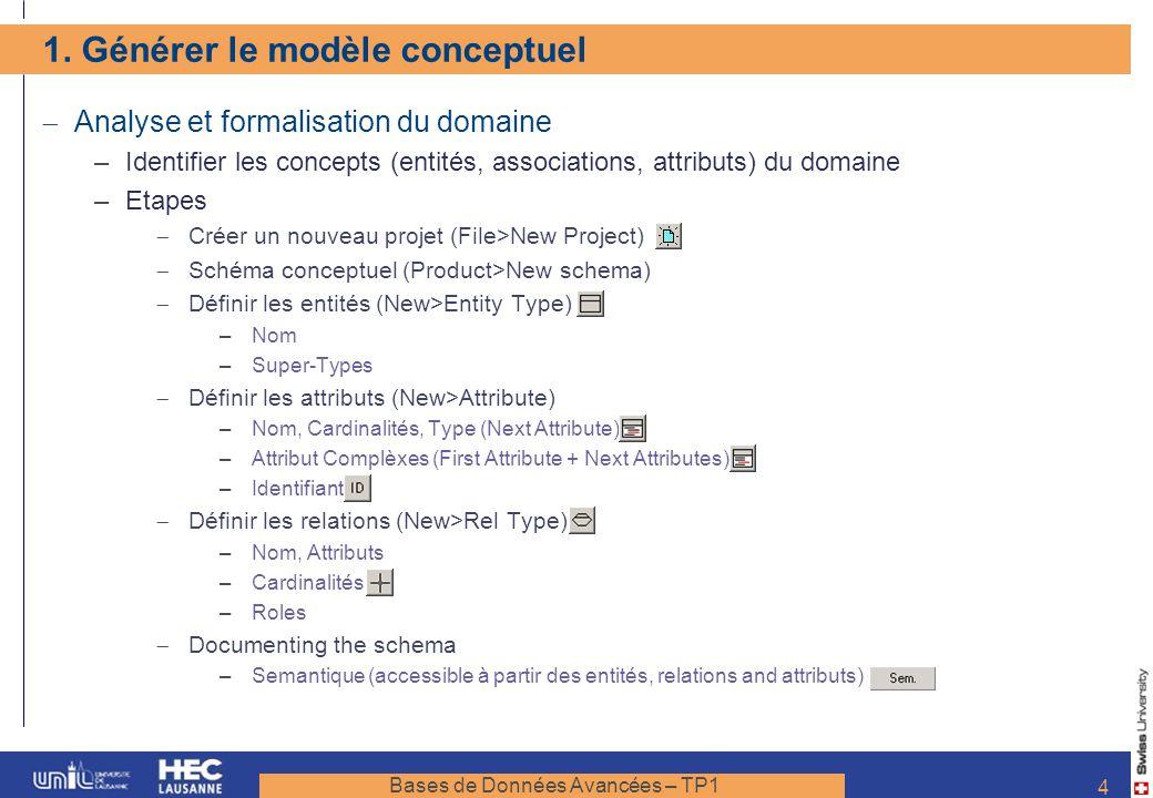 Bases de Données Avancées – TP1 4 1. Générer le modèle conceptuel Analyse et formalisation du domaine –Identifier les concepts (entités, associations,