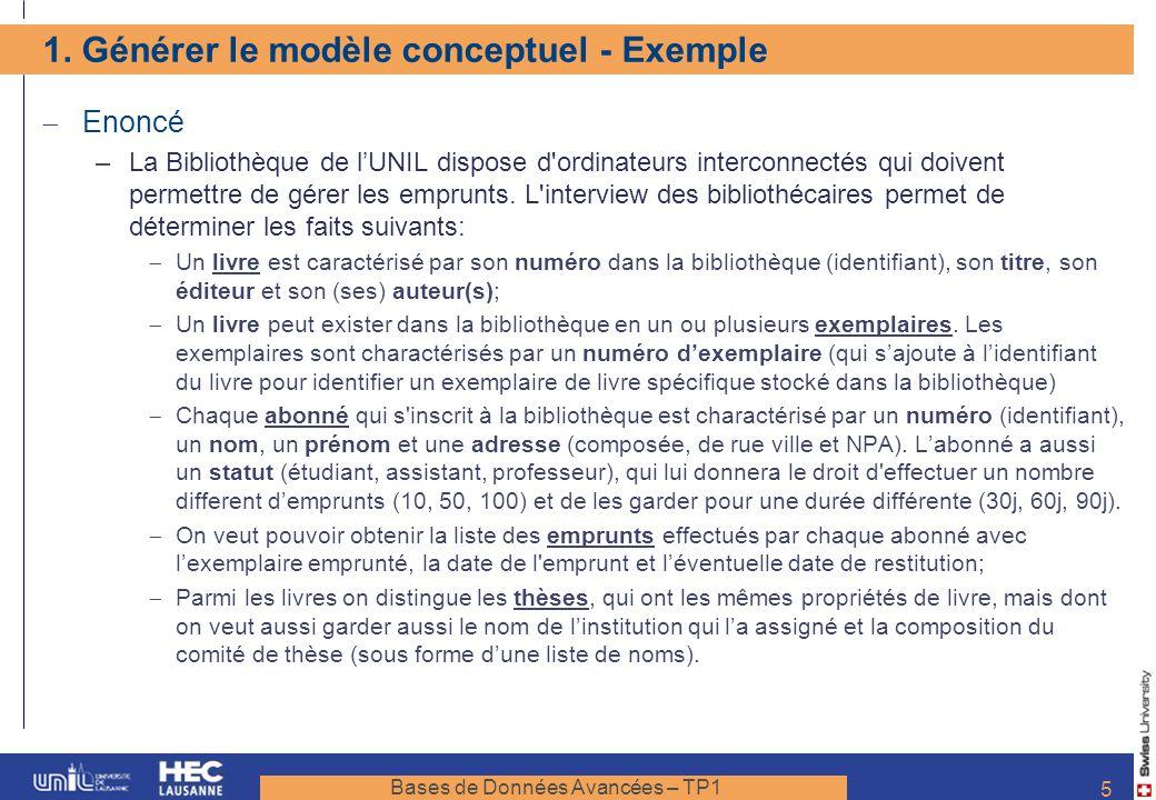 Bases de Données Avancées – TP1 5 1. Générer le modèle conceptuel - Exemple Enoncé –La Bibliothèque de lUNIL dispose d'ordinateurs interconnectés qui