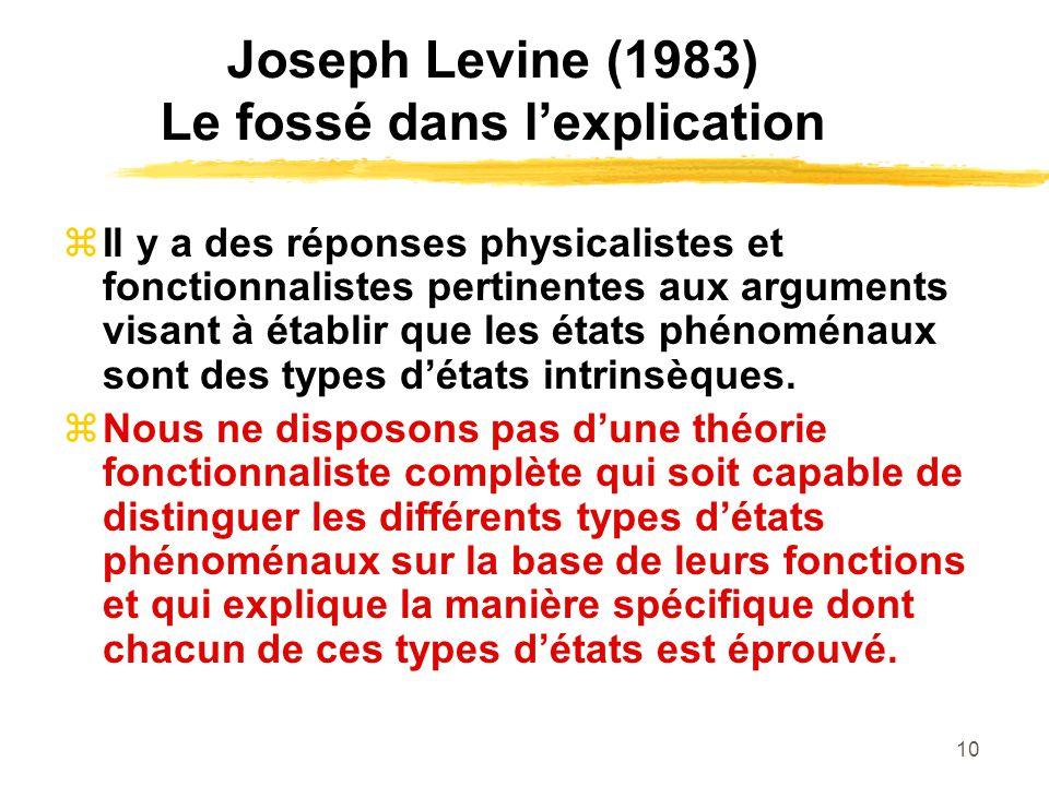 10 Joseph Levine (1983) Le fossé dans lexplication Il y a des réponses physicalistes et fonctionnalistes pertinentes aux arguments visant à établir que les états phénoménaux sont des types détats intrinsèques.