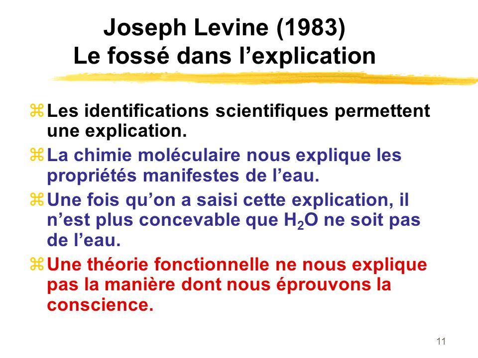 11 Joseph Levine (1983) Le fossé dans lexplication Les identifications scientifiques permettent une explication. La chimie moléculaire nous explique l