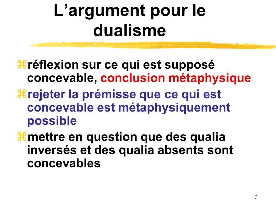 3 Largument pour le dualisme réflexion sur ce qui est supposé concevable, conclusion métaphysique rejeter la prémisse que ce qui est concevable est métaphysiquement possible mettre en question que des qualia inversés et des qualia absents sont concevables