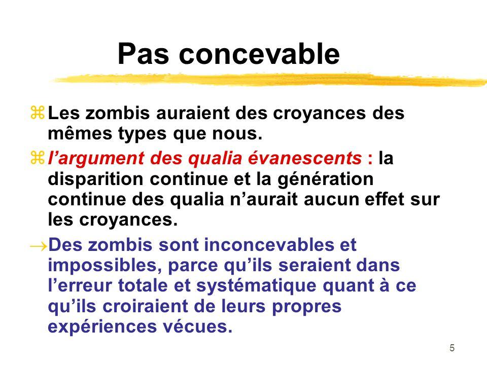 5 Pas concevable Les zombis auraient des croyances des mêmes types que nous. largument des qualia évanescents : la disparition continue et la générati