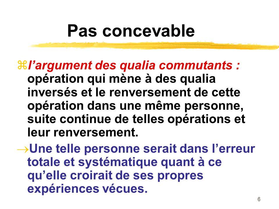 6 Pas concevable largument des qualia commutants : opération qui mène à des qualia inversés et le renversement de cette opération dans une même personne, suite continue de telles opérations et leur renversement.