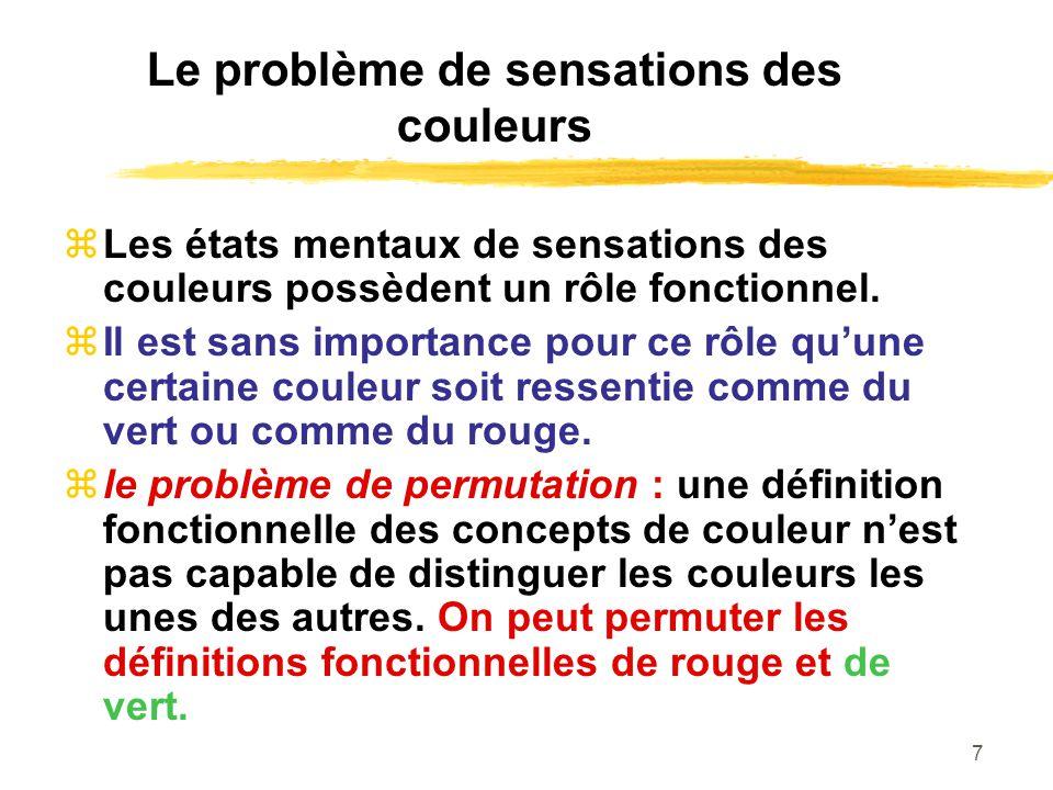 7 Le problème de sensations des couleurs Les états mentaux de sensations des couleurs possèdent un rôle fonctionnel. Il est sans importance pour ce rô