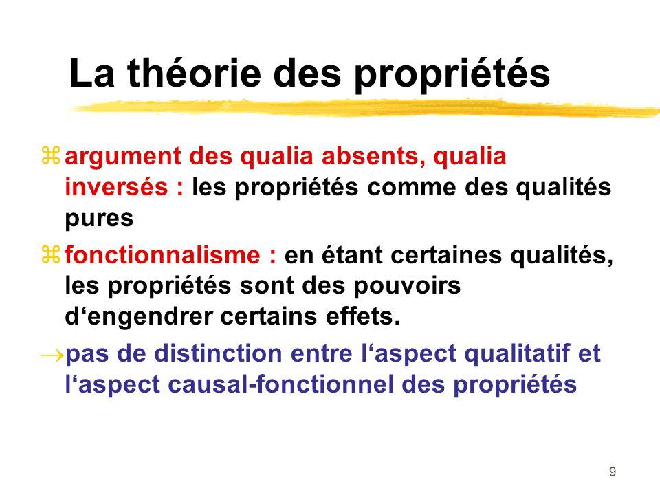 9 La théorie des propriétés argument des qualia absents, qualia inversés : les propriétés comme des qualités pures fonctionnalisme : en étant certaines qualités, les propriétés sont des pouvoirs dengendrer certains effets.