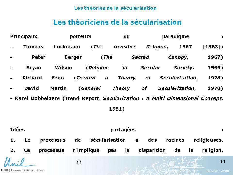 11 Les théoriciens de la sécularisation Principaux porteurs du paradigme : - Thomas Luckmann (The Invisible Religion, 1967 [1963]) - Peter Berger (The Sacred Canopy, 1967) - Bryan Wilson (Religion in Secular Society, 1966) - Richard Fenn (Toward a Theory of Secularization, 1978) - David Martin (General Theory of Secularization, 1978) - Karel Dobbelaere (Trend Report.