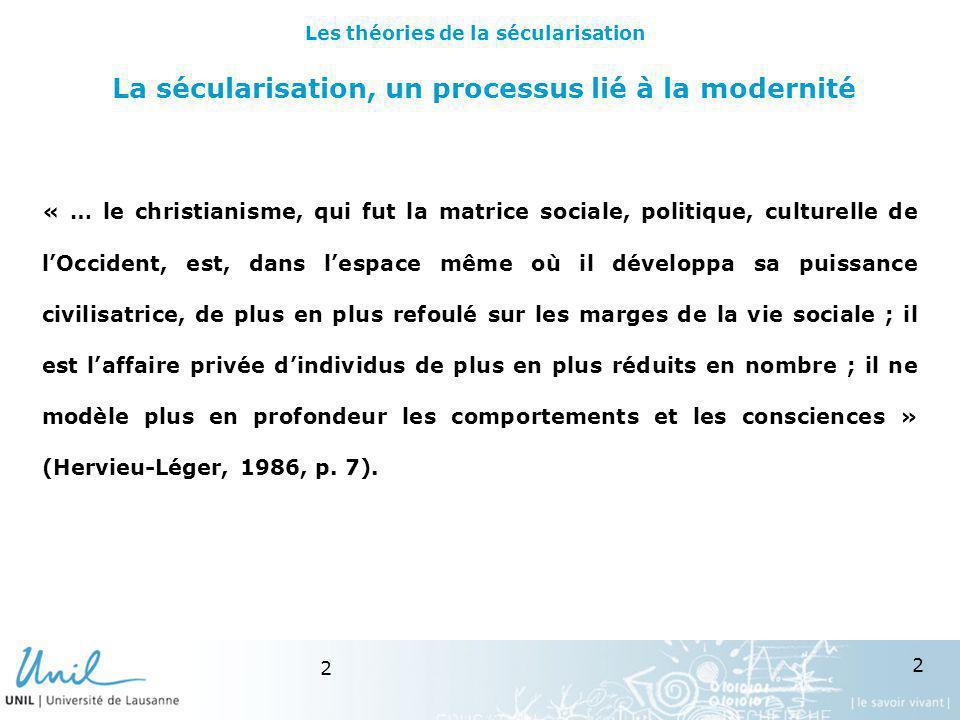 23 Le tournant des années 90 Les enquêtes valeurs européennes (vague 1999) mettent en évidence les effets non linéaire dune diminution de la religion.