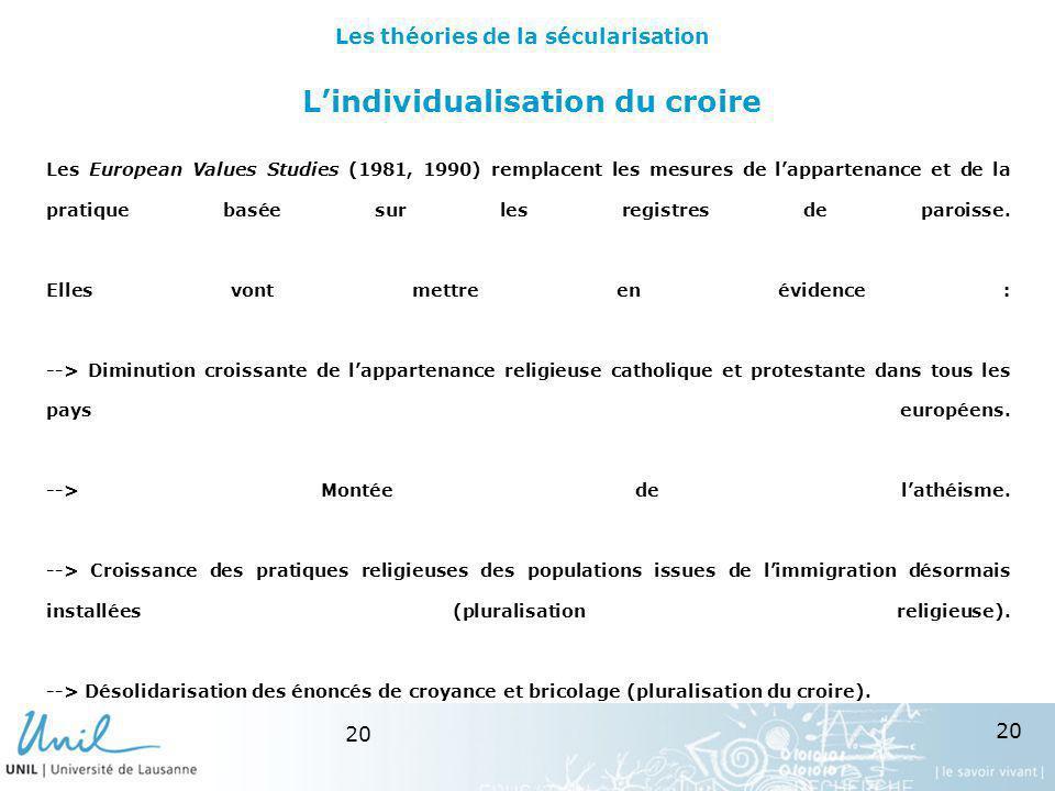 20 Lindividualisation du croire Les European Values Studies (1981, 1990) remplacent les mesures de lappartenance et de la pratique basée sur les regis