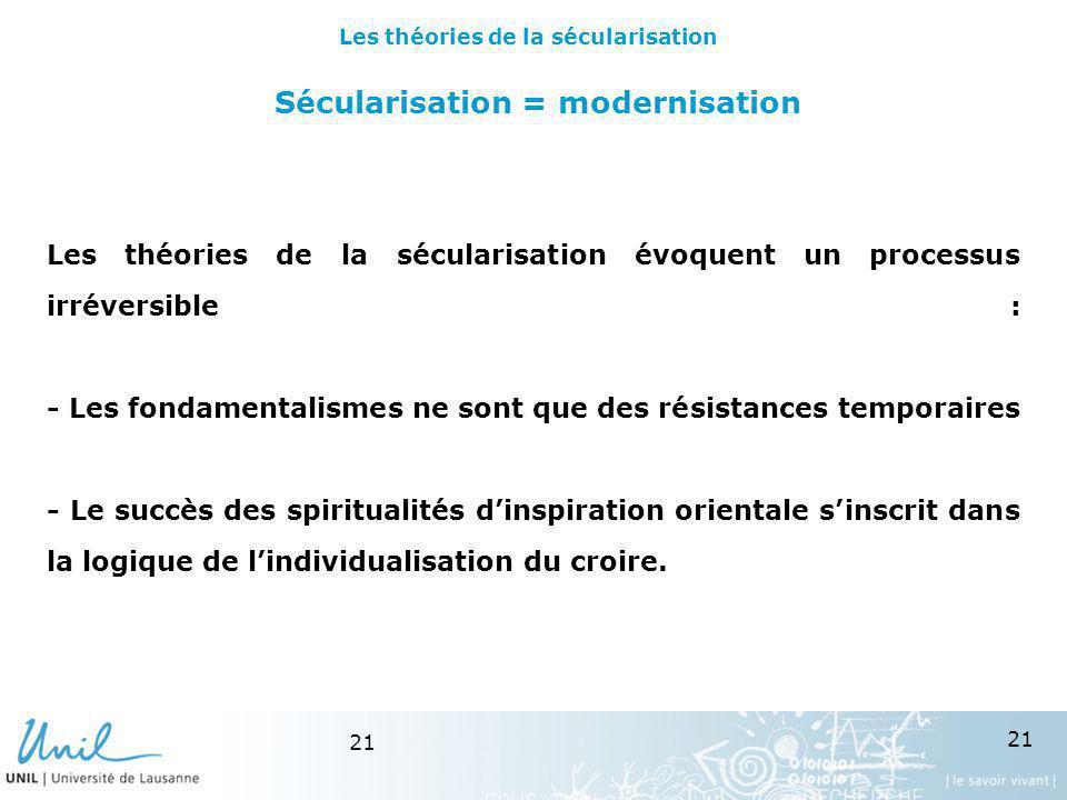 21 Sécularisation = modernisation Les théories de la sécularisation évoquent un processus irréversible : - Les fondamentalismes ne sont que des résist