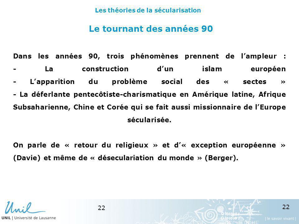 22 Le tournant des années 90 Dans les années 90, trois phénomènes prennent de lampleur : - La construction dun islam européen - Lapparition du problèm