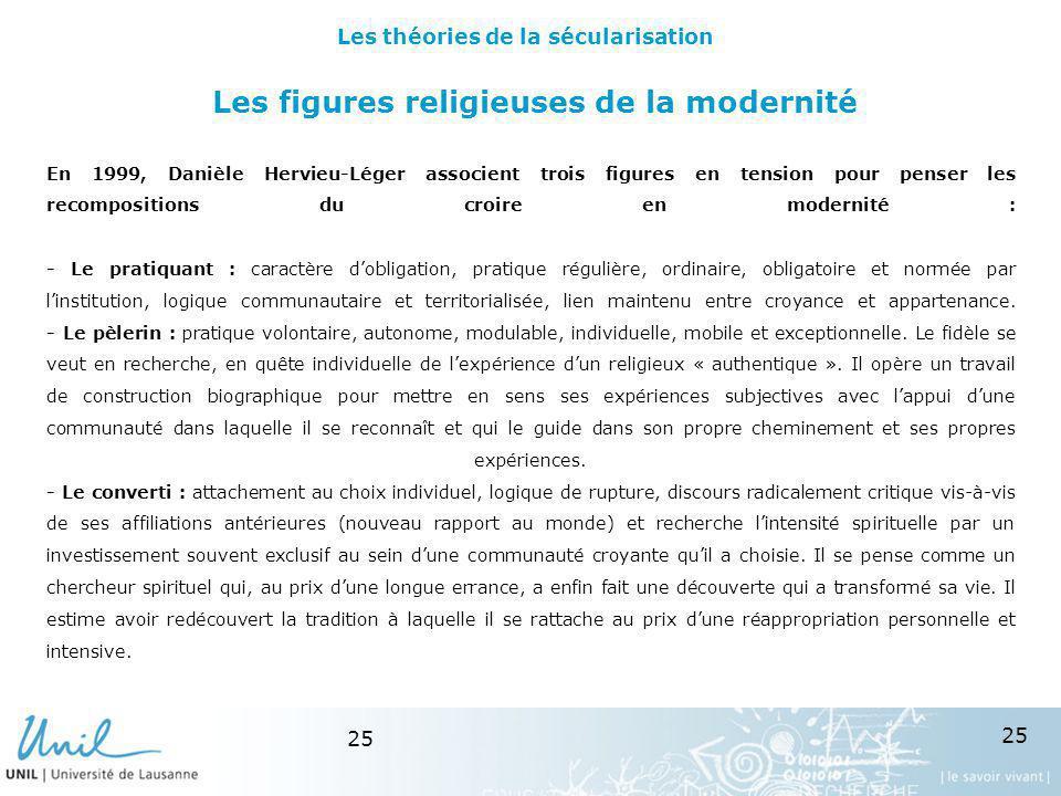 25 Les figures religieuses de la modernité En 1999, Danièle Hervieu-Léger associent trois figures en tension pour penser les recompositions du croire