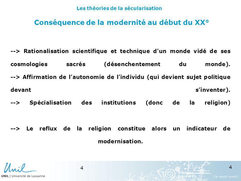 4 4 Conséquence de la modernité au début du XX° --> Rationalisation scientifique et technique dun monde vidé de ses cosmologies sacrés (désenchentemen