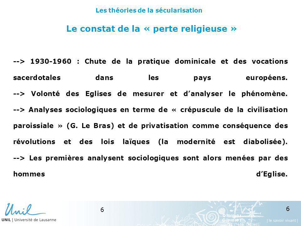 6 6 Le constat de la « perte religieuse » --> 1930-1960 : Chute de la pratique dominicale et des vocations sacerdotales dans les pays européens. --> V