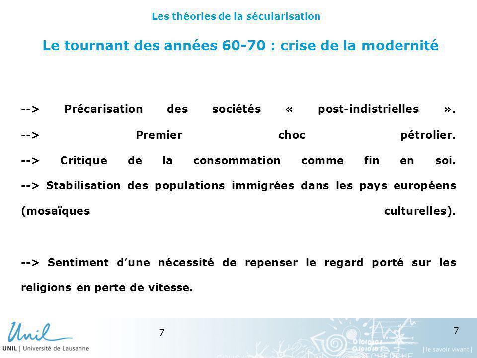 7 7 Le tournant des années 60-70 : crise de la modernité --> Précarisation des sociétés « post-indistrielles ». --> Premier choc pétrolier. --> Critiq