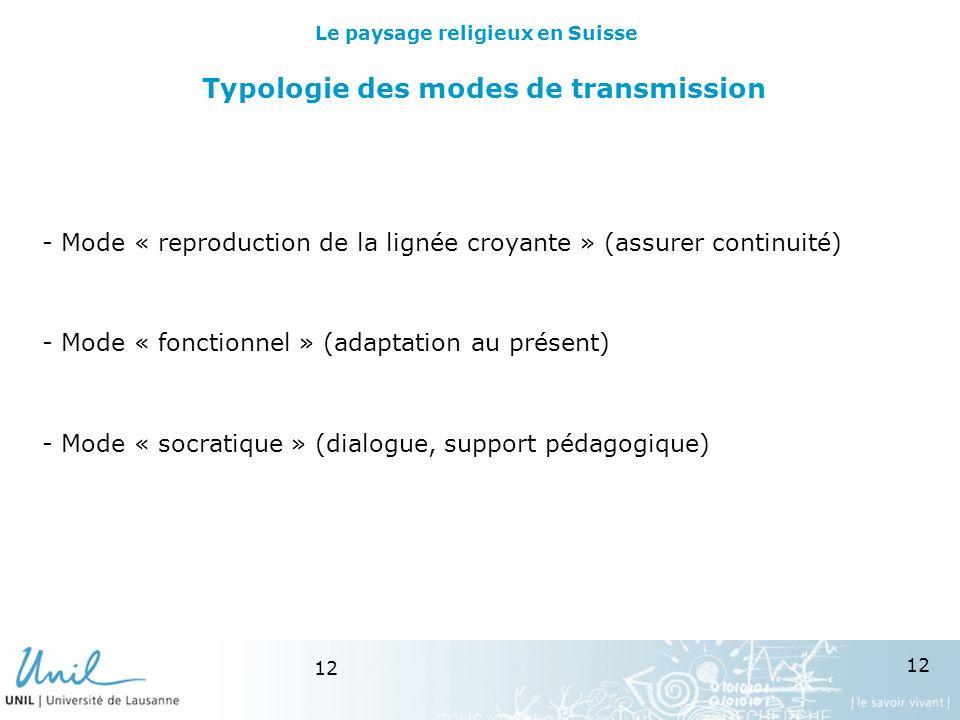 12 Typologie des modes de transmission - Mode « reproduction de la lignée croyante » (assurer continuité) - Mode « fonctionnel » (adaptation au présent) - Mode « socratique » (dialogue, support pédagogique) Le paysage religieux en Suisse
