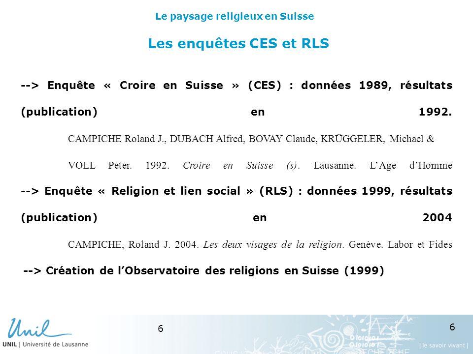 6 6 Les enquêtes CES et RLS --> Enquête « Croire en Suisse » (CES) : données 1989, résultats (publication) en 1992.