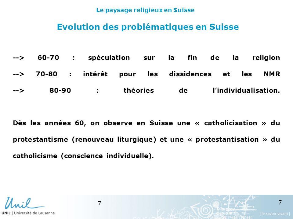7 7 Evolution des problématiques en Suisse --> 60-70 : spéculation sur la fin de la religion --> 70-80 : intérêt pour les dissidences et les NMR --> 80-90 : théories de lindividualisation.