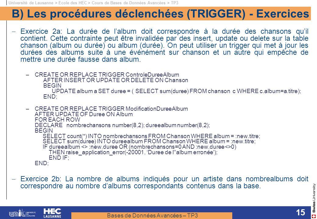 Bases de Données Avancées – TP3 Université de Lausanne > Ecole des HEC > Cours de Bases de Données Avancées > TP3 15 B) Les procédures déclenchées (TRIGGER) - Exercices Exercice 2a: La durée de lalbum doit correspondre à la durée des chansons quil contient.